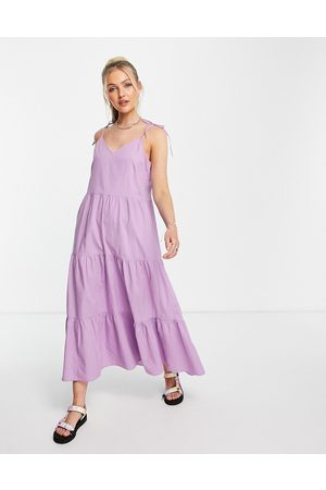 Pieces Women Maxi Dresses - Poplin tiered maxi dress in -Purple