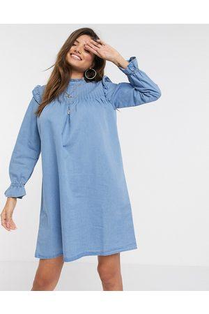 warehouse Pintuck shift dress in denim blue