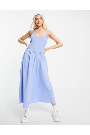 Pieces Cami shirred maxi dress in