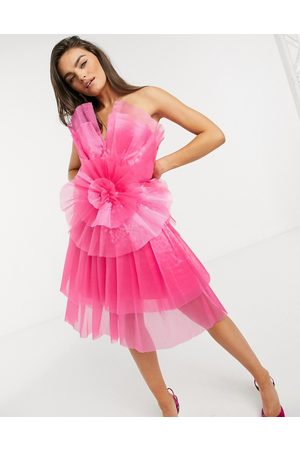 Forever Unique Tulle ruffle tiered mini dress in pink