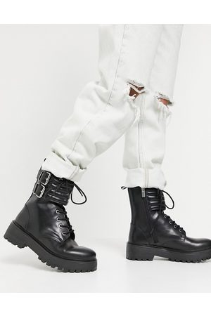 Pull&Bear Biker boot with quilted straps in