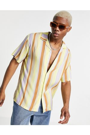 Pull&Bear Shirt with revere collar in and beige vertical stripe