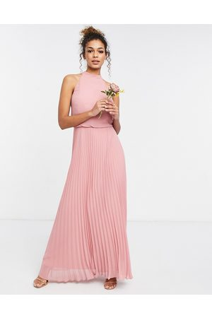 Oasis Bridesmaid high neck pleated maxi dress in
