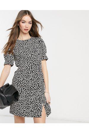 Warehouse Floral split front crepe dress in black-Multi