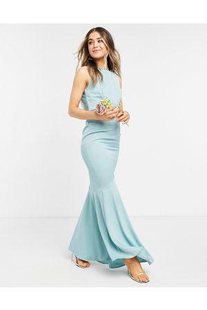 Oasis Bridesmaid bardot slinky maxi dress in