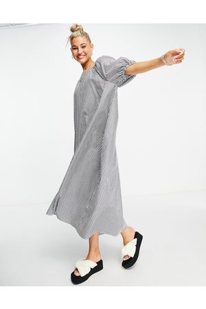 Object Organic cotton reversible maxi smock dress with tie detail in -Navy