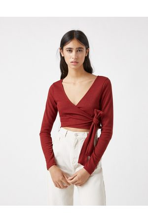 Pull & Bear Soft touch ballerina wrap top co-ord in rust-Brown