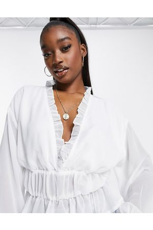Missguided Peplum top with frill neck in