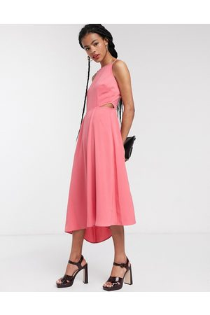 warehouse Open back cut out midi dress in
