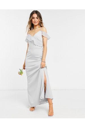 Oasis Bridesmaid ruffle satin maxi dress in