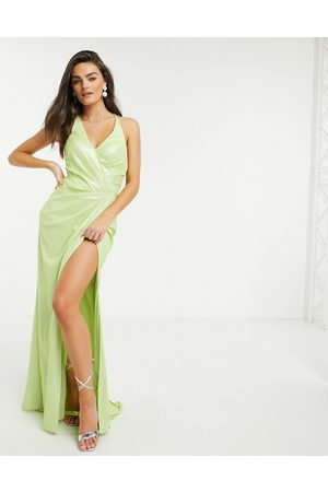Forever Unique Metallic wrap dress in -Green