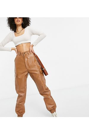 Missguided Faux leather cargo pants in -Brown
