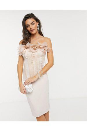 Forever Unique Embellished bandeau midi dress in