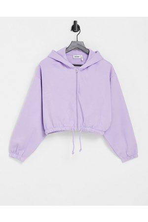 Weekday Women Hoodies - Miriam organic cotton blend hoodie with zip front in -Purple