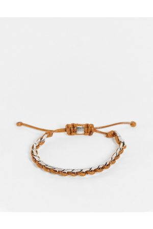 Icon Brand Cord and chain bracelet in brown