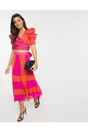 Forever Unique Colourblock wrap top in pink & red-Multi