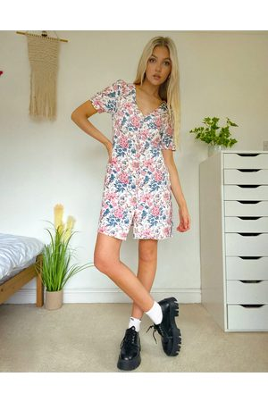 Oasis Button through dress in floral print-Multi
