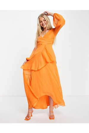 ASOS Wrap waist maxi dress with double layer skirt and long sleeve