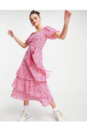 Whistles Viola printed dress in pink