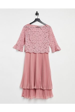 Oasis Bridesmaid tiered midi dress with flute sleeve in