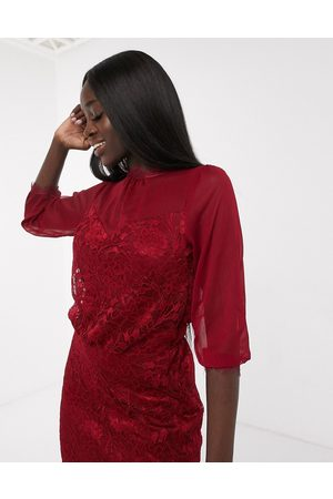 Oasis Lace midi dress in -Red