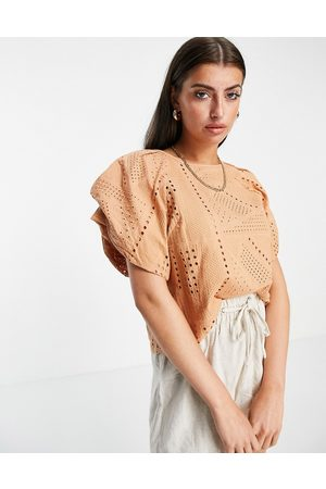 Y.A.S Organic cotton broderie frill sleeve top in -Neutral