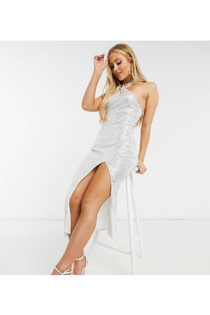 Missguided Sequin halterneck midaxi dress in