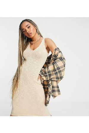 Missguided Textured knit midaxi dress in -Neutral