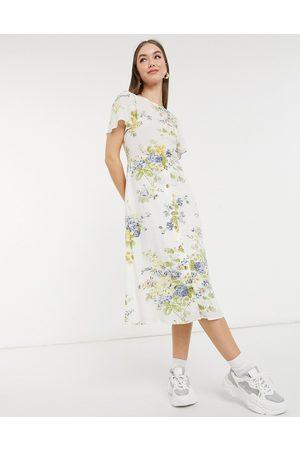 Warehouse Bonnie rose linen wrap dress in multi