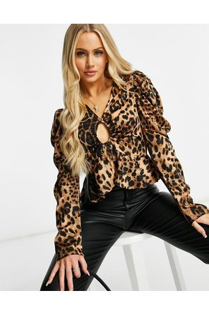 Missguided Women Blouses - Satin blouse with puffed sleeve in leopard