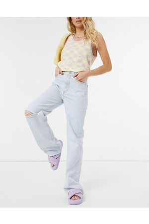 Pull&Bear Dad jeans with rip in