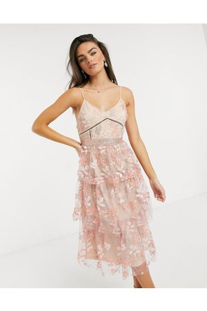 Forever Unique 3D floral midi dress in pink-Multi