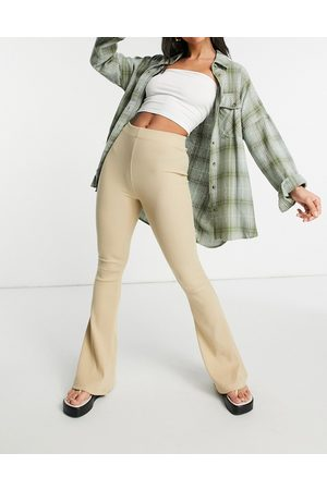 Pull&Bear Stretch bell bottom pants in -Neutral