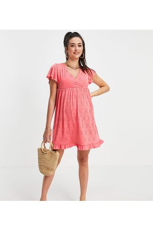 Mama Licious Mamalicious Maternity wrap front mini broderie dress in