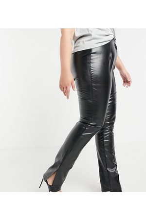 Missguided Women Leather Pants - Co-ord faux leather pant with split hem detail in