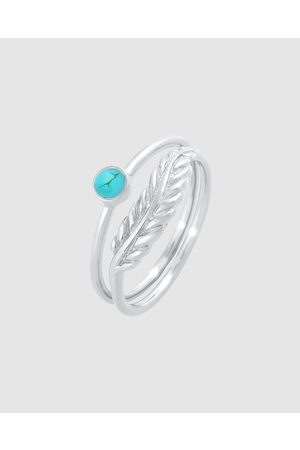 Elli Jewelry Ring Set Feather Howlith Turquoise in 925 Sterling - Jewellery Ring Set Feather Howlith Turquoise in 925 Sterling