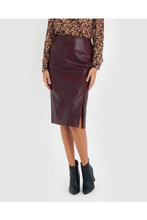 Forcast Calia Faux Leather Skirt - Leather skirts (Plum) Calia Faux Leather Skirt