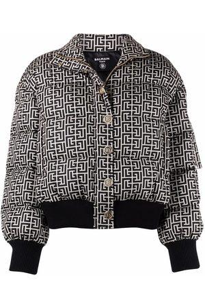 Balmain Women Winter Jackets - Monogram-print puffer jacket