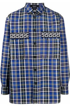 VERSACE Greca-detail plaid shirt