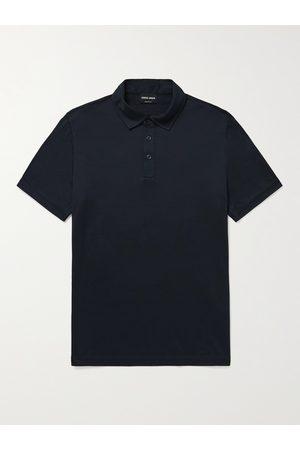 Armani Slim-Fit Mélange Silk and Cotton-Blend Polo Shirt