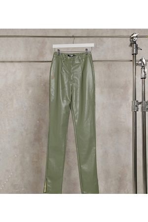 Missguided Co-ord faux leather pants with side split detail in -Green