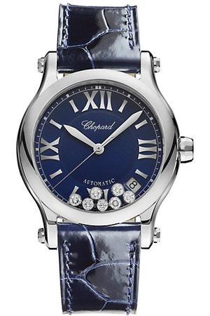 Chopard Watches - Happy Sport Diamond, Stainless Steel & Leather Strap Watch