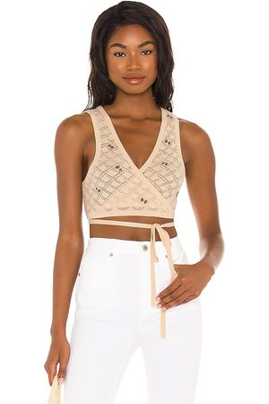 LPA Daphne Embroidered Wrap Top in .