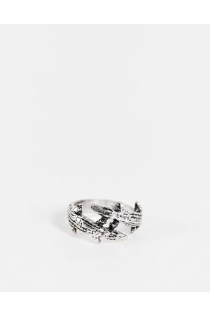 ASOS Ring with double crocodile design in burnished tone