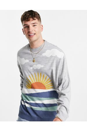 ASOS Knitted jumper with landscape pattern in