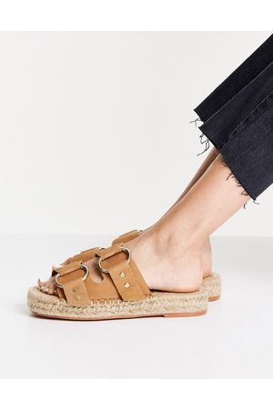 ASOS Janine leather buckle espadrille mules in -Neutral