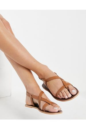 warehouse Multi strap toe thong sandals in -Brown