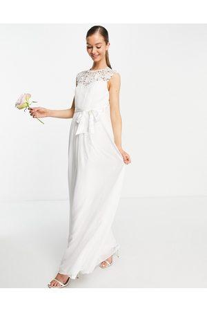 Little Mistress Bridal lace detail maxi dress in -White