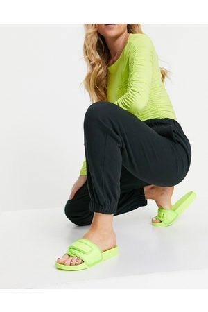ASOS Flip sporty slides in green