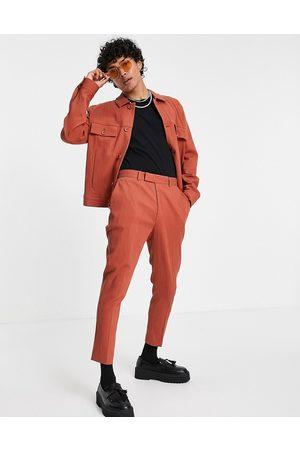 ASOS Co-ord skinny crinkle smart tapered pants in -Brown